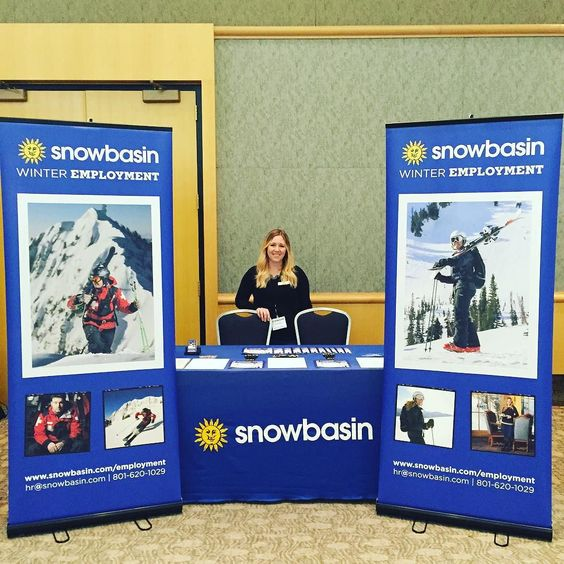 Come to the Eccles Conference Center in Ogden for the Career Fair and learn about winter opportunities at #SnowbasinResort today until 6! #workwhereyouplay @compasscareerfairs