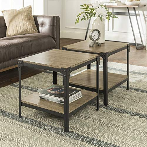 Rustic Living Room Furniture We Furniture Angle Iron Wood End Tables In Driftwood Set Of Living Room Accent Tables Living Room Table Sets Living Room Table