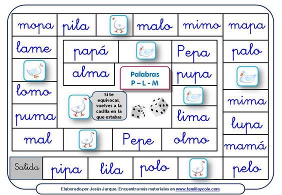 Juego de la Oca para leer palabras con las letras P, L, M