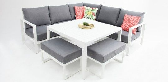 Dallas Aluminium L Shaped Lounge White Furniture Quality