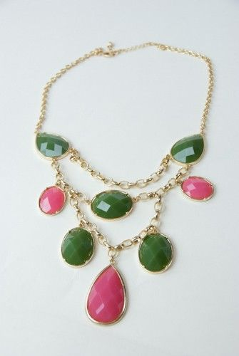 This pink and green statement necklace is a chic and sassy piece to add to your neck for some pops of color.  Make your neck happy with the Jennifer necklace! $24.75