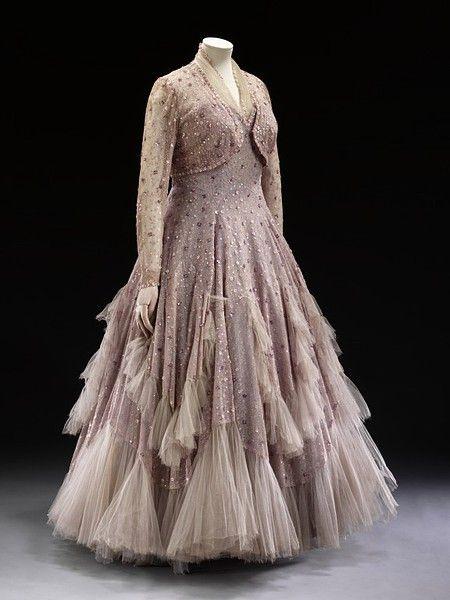 gorgeous, fluttery lavender gown c. 1948