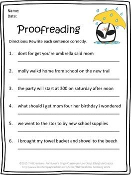 Printables Proofreading And Editing Worksheets teaching resources math and facts on pinterest you will receive 6 free morning work printables worksheets included are proofreading punctuation instead of said abc order multiplication math