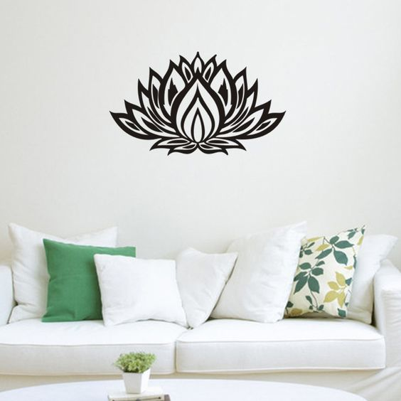 Find More Wall Stickers Information about Wall Decal  Art Home Decor Mural Mandala Lotus Flower Floral Indian Moroccan Pattern Yoga Namaste Flower Bedroom    TM8308,High Quality bedroom storage,China bedroom rug Suppliers, Cheap bedroom couple from The New Silk Road on Aliexpress.com