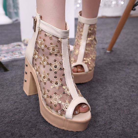 Womens Shoes Sandals Lace Mesh Net Decor Pump High Heels High Platform Zipper PU Leather Summer Shoes Fashion Wear T1091Z
