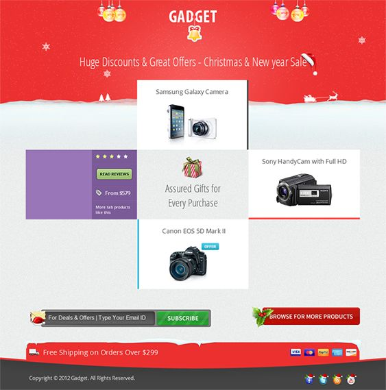 This Christmas Landing Page Template Comes With Social Media Icons