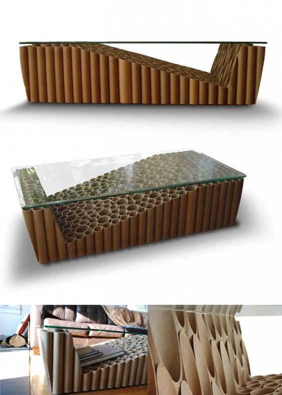 Esta mesa de caf utiliza 307 tubos de cart n para crear - Mesas de carton ...