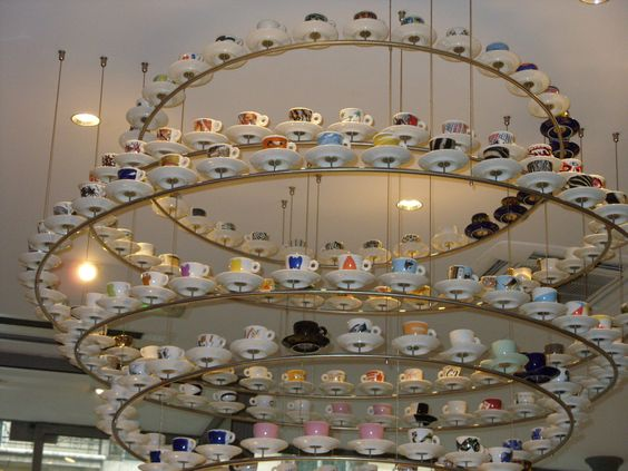 This teacup chandelier was in a coffee bar in Paris, it's the reason we went in!