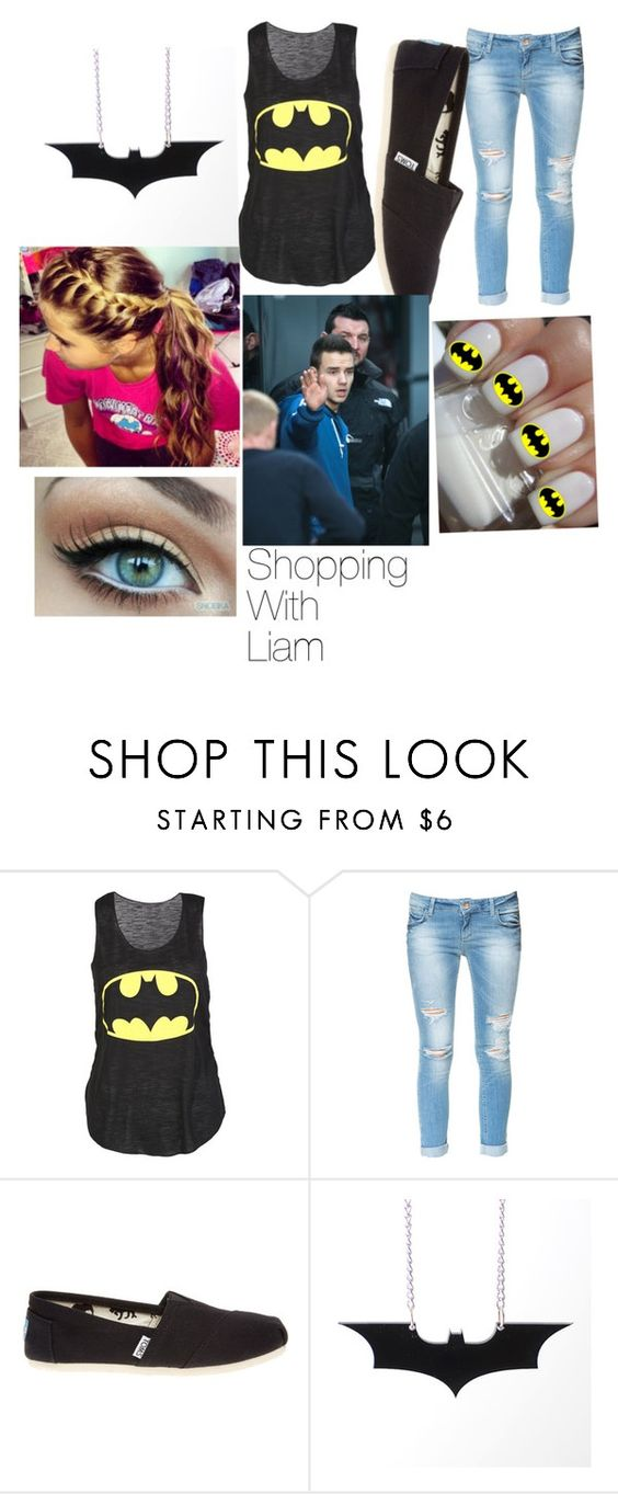 """""""Shopping with Liam"""" by kjw1232000 ❤ liked on Polyvore featuring mode, Zara, TOMS, Payne, LiamPayne, tanktop, batman, jeans en Braid"""