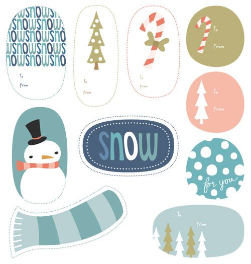 Wintry Holiday Tags
