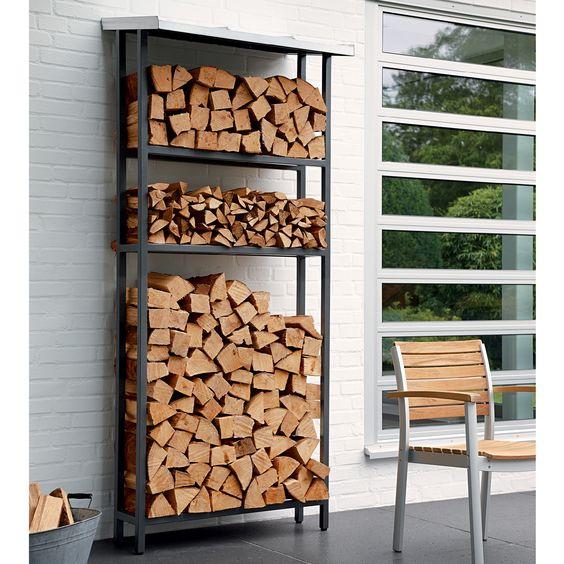 Das Regal Aus Pulverbeschichtetem Stahl Ist Besonders Stabil Es Kann Zusatzlich An Zwei Dafur Vorgesehenen Befestigungspunkten Mit De Brennholz Holzlager Holz