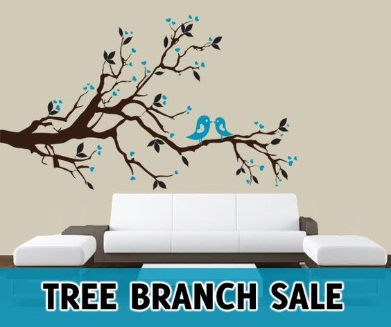 SALE Tree Branch Left Right Leaves Birds Hearts by AmericanDecals, $34.99