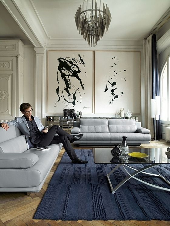 black and white paintings rolf benz furniture glass chandelier atelier plura sofa rolf benz