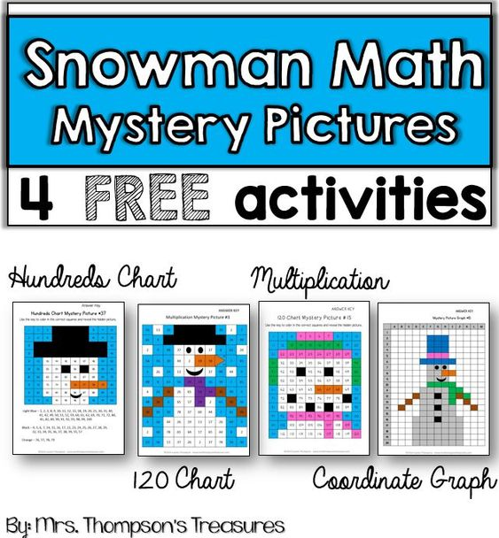 Free snowman math mystery pictures - 4 different activities.