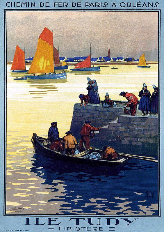 """Affiche chemins de fer de Paris à Orléans - Ile Tudy - Finistère - illustration de Charles Hallo dit """"alo"""" - France -"""