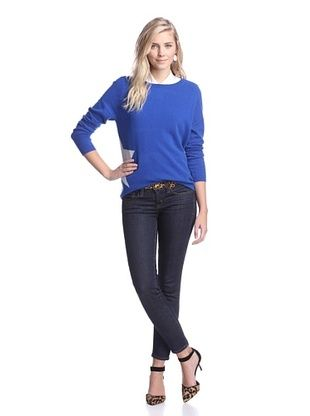 60% OFF Kier & J Women's Star Detail Cashmere Sweater (Pacific Blue/Brume)