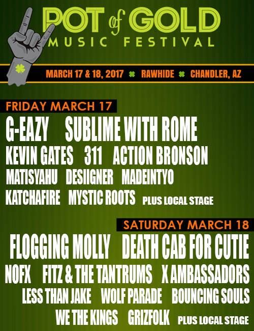 Image result for Pot of Gold Music Festival Mar 17-18, 2017 Chandler, AZ