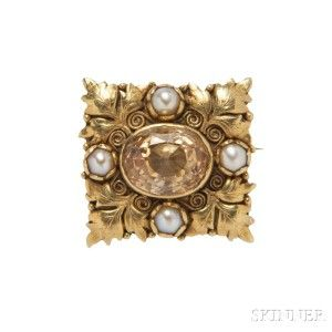 Arts and Crafts 18kt Gold, Citrine, and Seed Pearl Brooch, Margaret Rogers