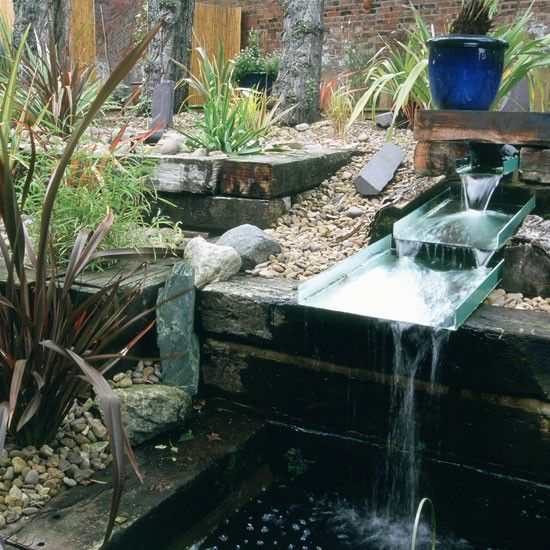 Water Gardens And Features: Unusual Garden Water Feature Use Railway Sleepers To