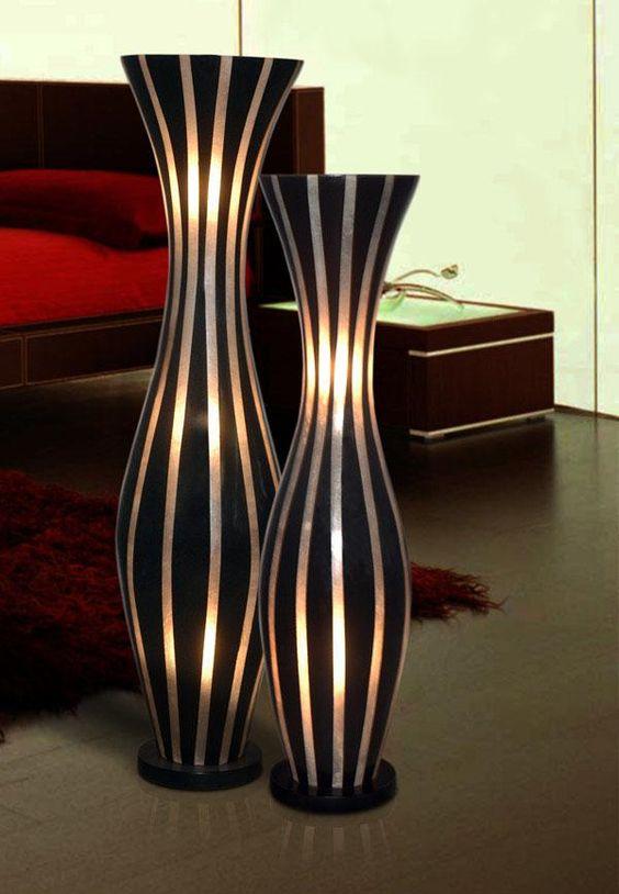 Vase Floor Lamps: The Black And White Striped Artoz Vase Floor Lamp,Lighting