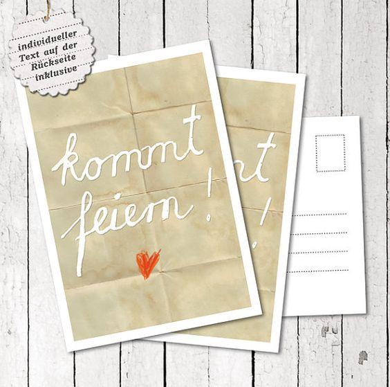 30 Hochzeitspostkarten Kommt feiern Einladung von OneOfTheGoodOnes, €35.00