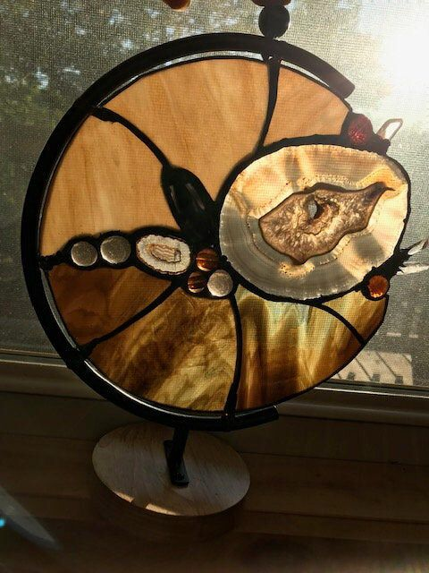 Stained Glass and natural geode panel on stand s