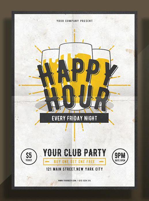 Happy Hour Flyer Template Psd Flyer Design Templates Flyer Template Contact Card Template