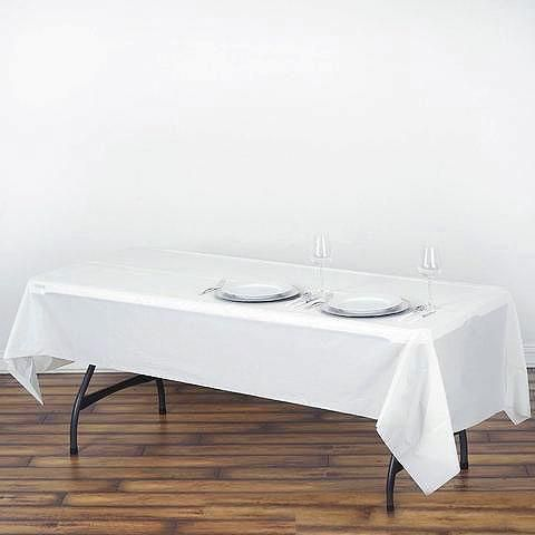 54 X 108 White 10mil Thick Disposable Plastic Vinyl Rectangular Tablecloth Table Cloth White Table Cloth Rectangular