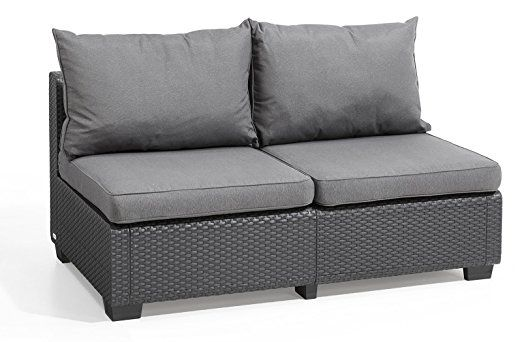 Keter Sapporo All Weather Modular Outdoor 2 Seater Patio Sofa Loveseat With Cushions In A Resin Plastic Wicker Pa Gray Patio Furniture Patio Loveseat Love Seat