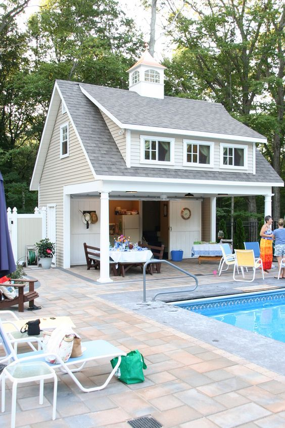 Pool houses pools and house on pinterest for Pool house plans with bedroom