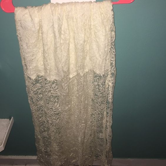 Lace Abercrombie Skirt Never worn short skirt under long lace material. Off white color. Abercrombie & Fitch Skirts Maxi
