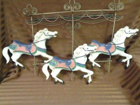 Curtis Jere 3 Horse Carousel Metal Wall Sculpture | eBay