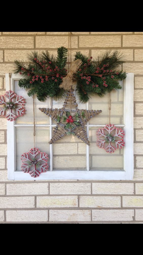 Old window made into Christmas decor