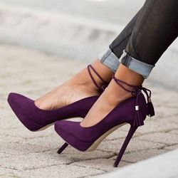 Shoespie Purple Pointed Toe Ankle Strap Stiletto Heels | Shoes ...