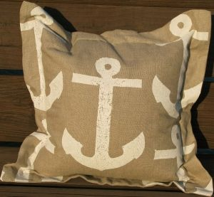 Lowcountry Anchor - White on Natural Linen Pillow