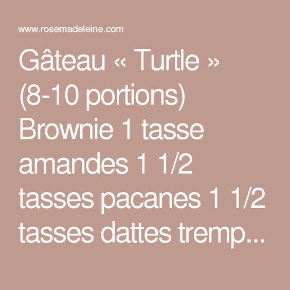 Gâteau «Turtle» (8-10 portions)  Brownie 1 tasse amandes 1 1/2 tasses pacanes 1 1/2 tasses dattes trempées 1 heure 1/2 tasse cacao 3 c. à table sirop d'érable 2 gousses de vanille  Caramel aux dattes 2 tasses dattes trempées 1 heure Plus ou moins 1/3 tasse d'eau  1 tasse chocolat noir fondu  Dans un robot culinaire, moudre les amandes et 1 tasse des pacanes. Inutile de moudre finement. Ajouter les dattes rincées, le cacao, le sirop d'érable et les gousses de vanille grattées. Faites…
