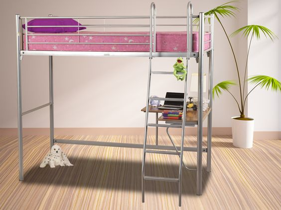 Metal study Bunk in Silver finish. Includes underbed desk. Sprung slatted base. Mattress extra.