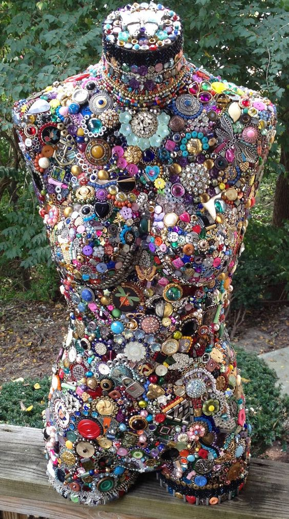 Original art, mixed media assemblage on mannequin torso, Minnie, vintage beads, jewelry, buttons, glass, silver, gold, steel, found items