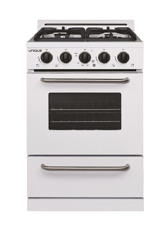 Unique Classic 24 Propane Range Battery Ignition Variable Btu Sealed Burners 11 000 Btu Largest Cast Iron Grates Window Ugp 24g Of1 W White Propane Off The Grid Cooking Appliances