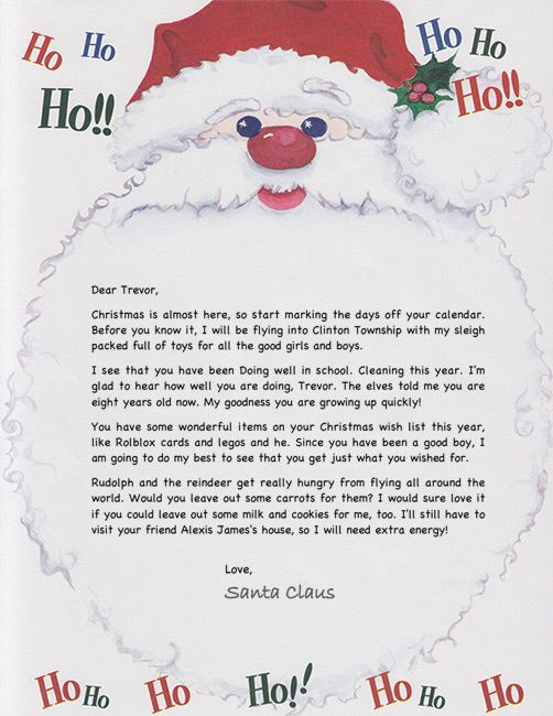 Ho Ho Ho Santa Letter Personalized Letters From Santa Santa Letter Santa Letter Template