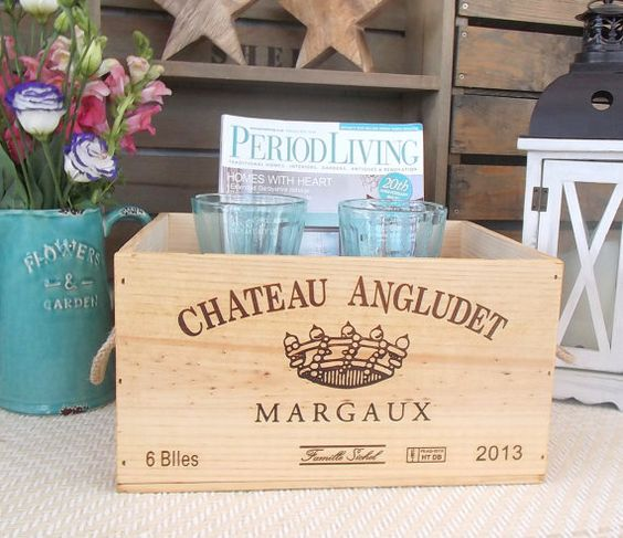 Wooden wine box with rope handles  Chateau by BaxterandSnowwinebox
