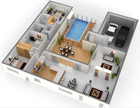 Denah Rumah 2 Lantai 3d 3d House Plans House Floor Plans Interior Design Plan