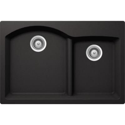Buy Here: http://thd.co/1RydaPH SCHOCK EDO EDON175T013 Top Mount Composite 33 in. 0-Hole 70/30 Double Bowl Kitchen Sink in Nero #kitchensink #kitchensinks #kitchen #sinks #schock #granitesink