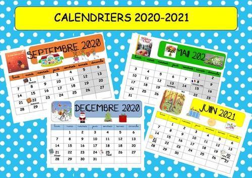 CALENDRIERS 2020 2021 en 2020 | Classe ce1, Calendriers, Classe
