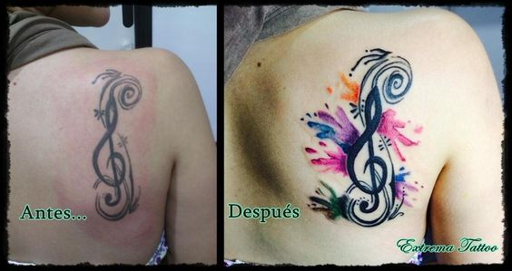 Arreglo d antiguo tatuaje ANTES Y DESPUÉS.#acuarela #arreglo #colorafull #música #clavedesoltattoo #tatuajes #badajoz