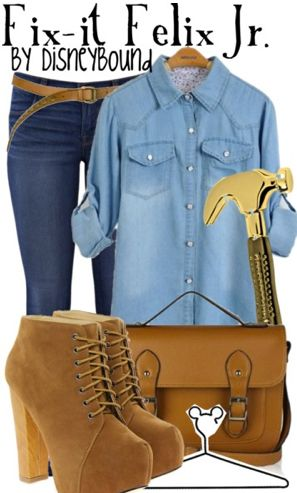 Fix-it Felix Jr. by disneybound instead if high heel maybe light brown combat boots?
