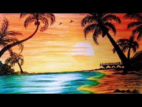 How To Draw Sunset Beach Landscape Drawing With Color Pencils Step By Step Youtube Landscape Drawings Beach Drawing Drawing Sunset