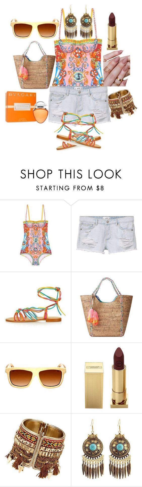 """""""Untitled #130"""" by anaflores7822 ❤ liked on Polyvore featuring Dolce&Gabbana, MANGO, Topshop, Lilly Pulitzer, Earth, Lipstick Queen and Bulgari"""