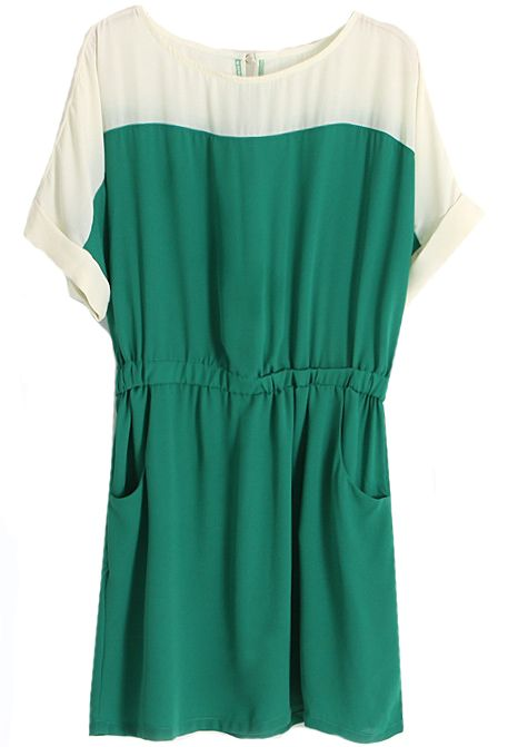 Green Short Sleeve Pockets Bandeau Chiffon Dress - Sheinside.com