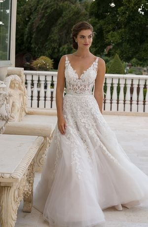 V-Neck A-Line Wedding Dress  with Natural Waist in Beaded Embroidery. Bridal Gown Style Number:33329822